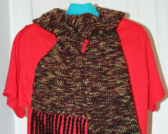 Nature's Brown Plush, Soft, and Warm  Handwoven Scarf