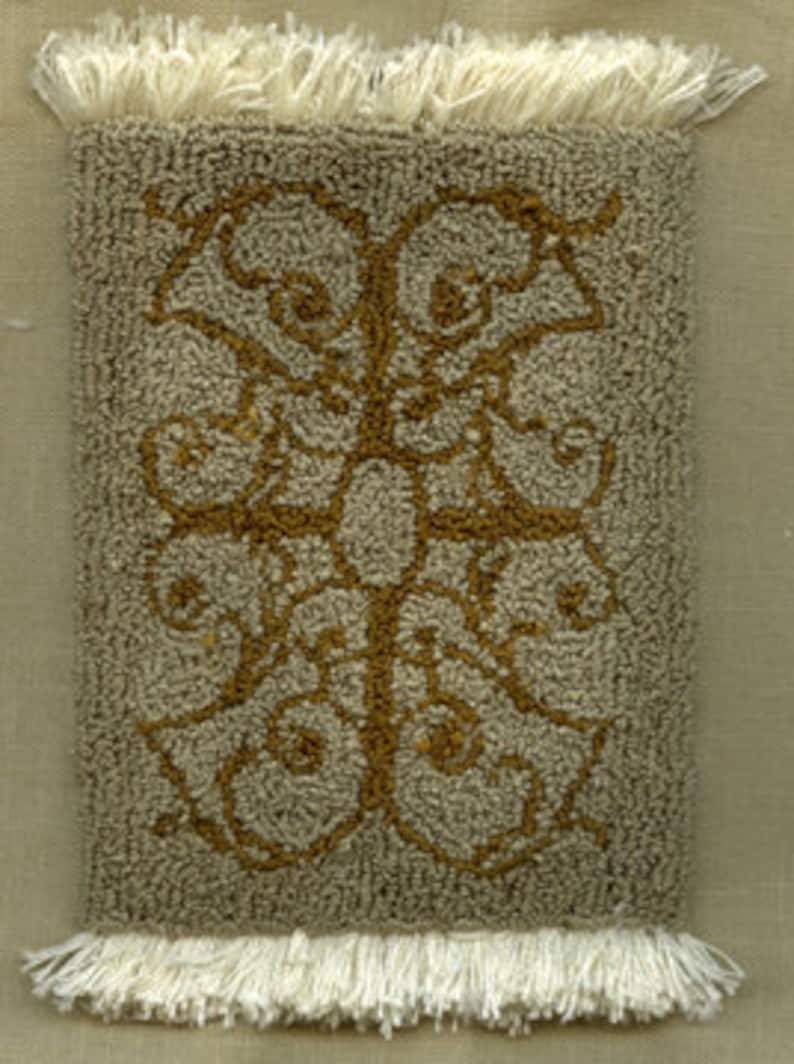 Scroll Rug  Miniature Punch Needle Embroidery Doll House Rug image 0