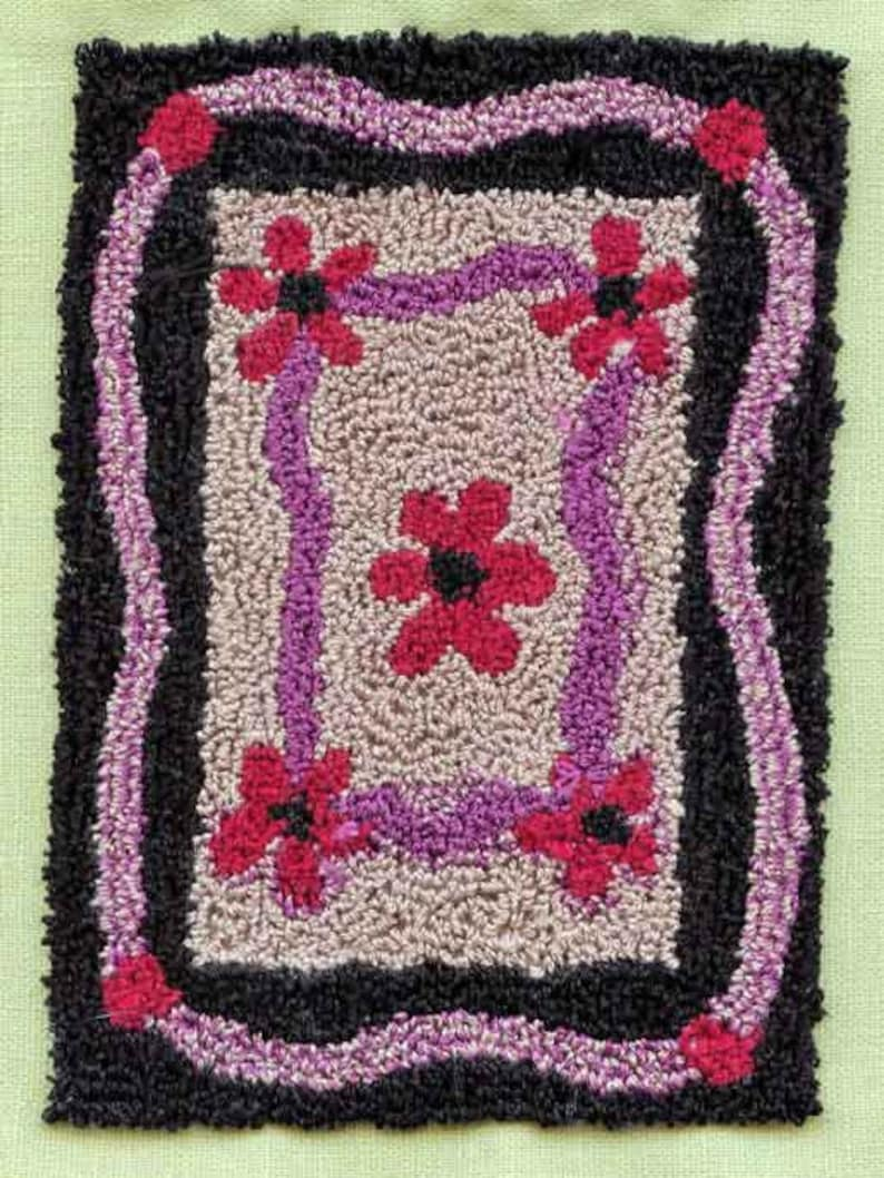 Flower Rug  Miniature Punch Needle Embroidery Doll House Rug image 0