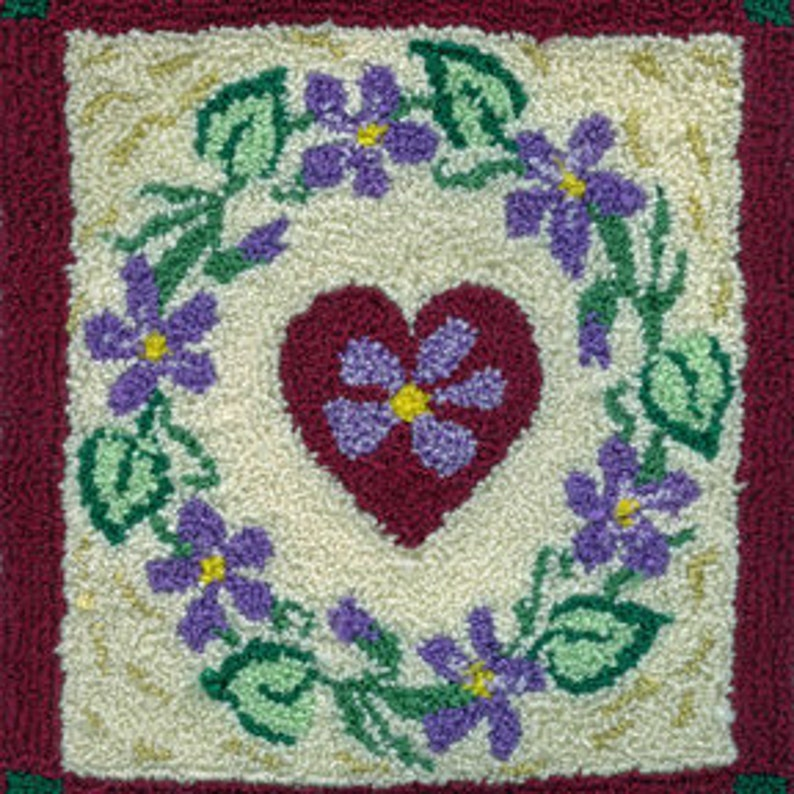 Wreath of Violets  Miniature Punch Needle Embroidery PATTERN image 0