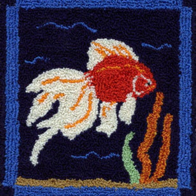 Goldfish  Miniature Punch Needle Embroidery PATTERN image 0
