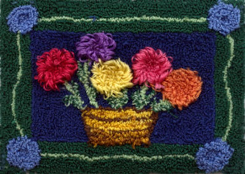 Flower Basket  Miniature Punch Needle Embroidery PATTERN image 0