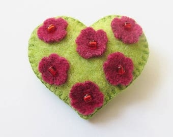 SUMMER - Felt Brooch In A Bag - Lime Green & Pink Wool Heart - Accessory - Pin - Lovely Gift Idea For Her