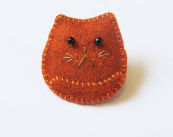 MARMALADE - Felt Brooch - Cute Ginger Cat - Accessory - Pin - Gift Idea For Cat Lovers