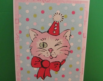 Handmade Party Cat Card - Art Card - Unique Ooak - Blank - Suitable For All Occasions