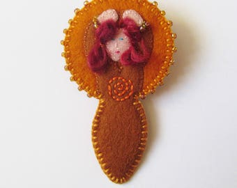 GAIA  - Felt Mother Earth Goddess Brooch - Warm Honey Brown - Pin - Accessory - Gift