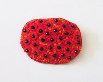 FRANCES - Felt Brooch - Abstract - Red Embroidered Flowers - Pin - Accessory