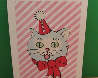 Handmade Cute Party Cat Card - Art Card - Unique Ooak - Blank - Suitable For All