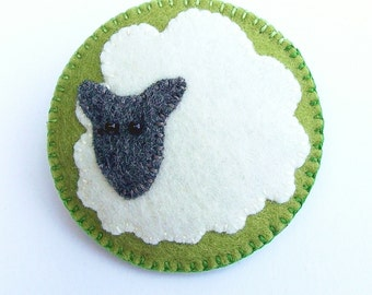 SNOWBALL - Felt Brooch - Mountain Sheep - Accessory - Pin - Wildlife And Countryside Lover