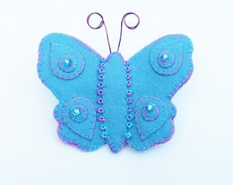 BETHANY - Felt Butterfly Brooch - Sky Blue - Accessory - Pin - Hand Embroidered - Pretty Gift