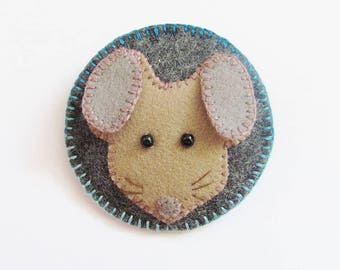 WHISKERS - Felt Mouse Brooch - British Wildlife - Accessory - Pin - Gift For Animal Lover