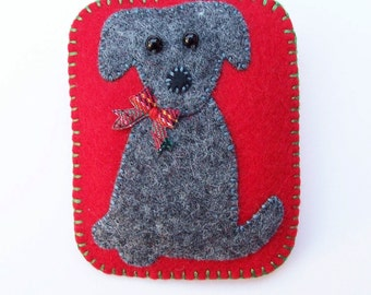 FELIX - Grey Felt Terrier Picture Brooch -  Accessory - Pin - Great Gift Idea For Dog Lovers