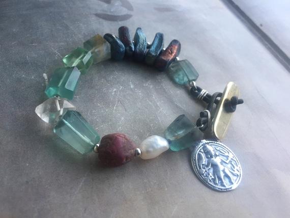 Fluorite /& Raku  Bracelet