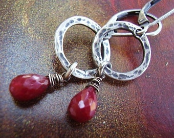 Red Ruby Textured Silver Earrings