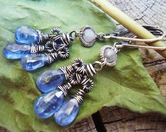Hand Wrought Kyanite Chandelier Earrings