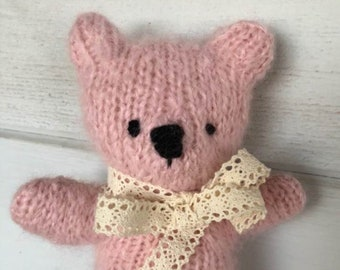 Pink Sugar Bear Teddy Bear Eco Toy Heirloom Natural hand Knit