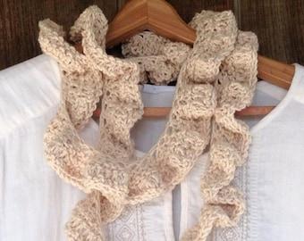 Organic Cotton Lariat Scarf Natural Fashion Accessory Women Style Boho