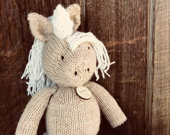 Unicorn Plush Eco Kids Toy Stuffed Animal Natural Eco Friendly Heirloom Quality Ready to Ship Gift Eunice the Unicorn