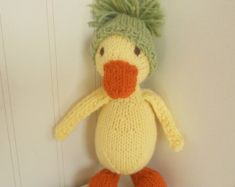 Natural Stuffed Animal Toy -  Puddles the Duck -  handKnit by Woolies Wool Stuffed Animal Doll