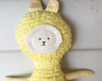 Bunny - Raggy Bunny Toy Soft Doll, Plush, Natural Eco Friendly FEATURED in Stuffed Magazine