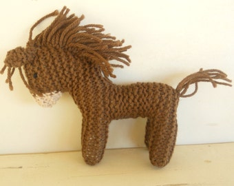 Earth Pony, Burro, Waldorf Toy, Stuffed Animal Horse, knitted horse, natural and eco friendly
