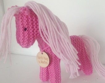 Valentine Earth Pony, Waldorf Toy, Stuffed Animal Horse, Eco Kids Toy, HandKnit, All Natural Childrens Toy Pink Pony