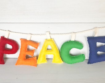 Peace Banner Garland Decor Rainbow Natural