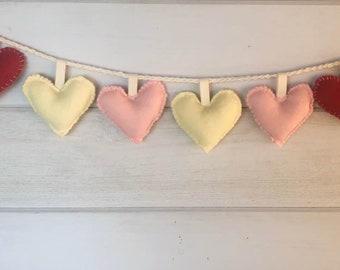 Heart Banner Garland Nursery Decor Valentine Love Wedding