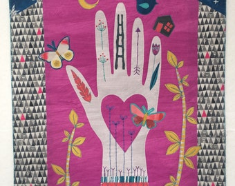 Pattern for fused applique art quilt collage Hand Full by Deborah Boschert, pdf download
