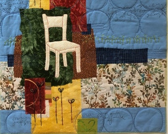 Pausing Pattern art quilt collage
