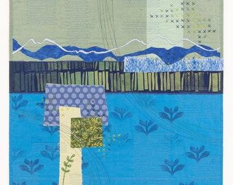 Growing Up Through the Cracks -- original art quilt collage by Deborah Boschert, fiber textile wall hanging