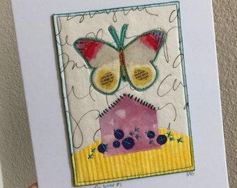 Butterfly House original art quilt collage Deborah Boschert fiber textile