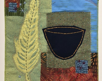 """Art Quilt Collage """"In A Moment"""" blue bowl, feather, embroidery"""