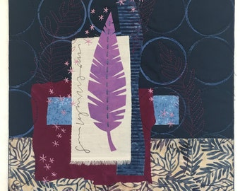 Light As A Feather, original art quilt collage by Deborah Boschert