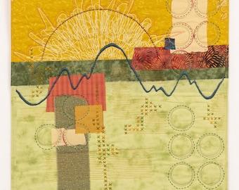 Waiting for the Light to Change original art quilt collage Deborah Boschert fiber textile wall hanging