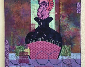 Art Quilt Fabric Collage Wall Hanging -- Plentiful, SALE