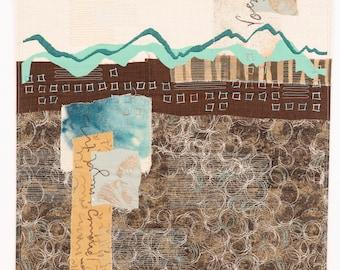 Slipping Off the Curb original art quilt collage Deborah Boschert fiber textile quilted wall hanging