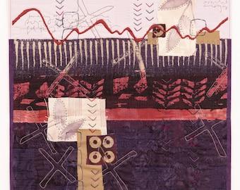 Crossing Paths in Shade and Light original art quilt collage Deborah Boschert fiber textile wall hanging