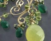 Green Chalcedony Green Onyx Green Tourmaline Peridot Necklace