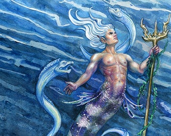 "Fantasy Art  Merman , Nautical Ocean Painting , Print  ""Deep Blue""  Eels"
