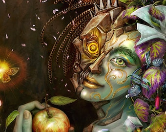 Abundant Woman Fantasy Art, Nature, Fairy, Robot, goddess, dryad, sci-fi ,  portrait , art print