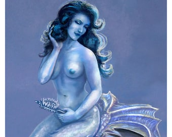 Mermaid Art, Fantasy Art Print,Pinup, PIN UP ocean beach seascape nautical art Aquamarine 16 x 20
