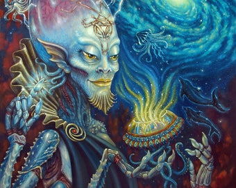 Fantasy Art, ALIEN , King of CUPS, Tarot, Painting  outerspace sci-fi fantasy art Print 16 x 20 on canvas