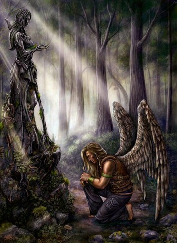 Fantasy Art Angel Forest Rpg Fantasy Art Print Celestial Planar Praying