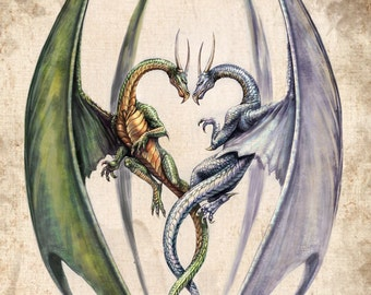 Fantasy Art Print,  Dragon Art,  Dragons Heart Love entwined lovers valentines