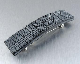 Handmade Barrette - Black and White Barrette - Polymer Clay Barrette - Hair Clip