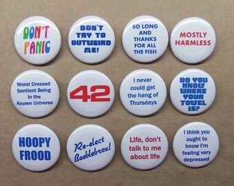 "Hitchhiker's Guide to the Galaxy 12 Button Set 1.25"" Douglas Adams HHGG Marvin Zaphod Hoopy Don't Panic 42 +!"