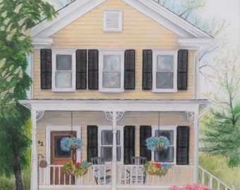 FREE SHIPPING 11X14 CUSTOM House Portrait by Carla Kurt, perfect gift, top selling artist, best selling, home porch trees windows