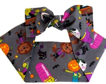 Monster Halloween Bandana, Trick or Treat Hair Scarf, Head Wrap, Vampire Accessorie, Jack O Lantern, Werewolf -Rockabilly Pinup