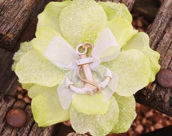 Anchor Floral Hair Clip, Pinup, Rockabilly, Nautical Accessorie, Green Sparkle Anchor Hair Clip